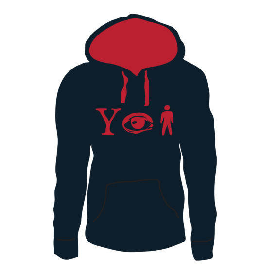 Why Aye Man Hoodie Navy with red