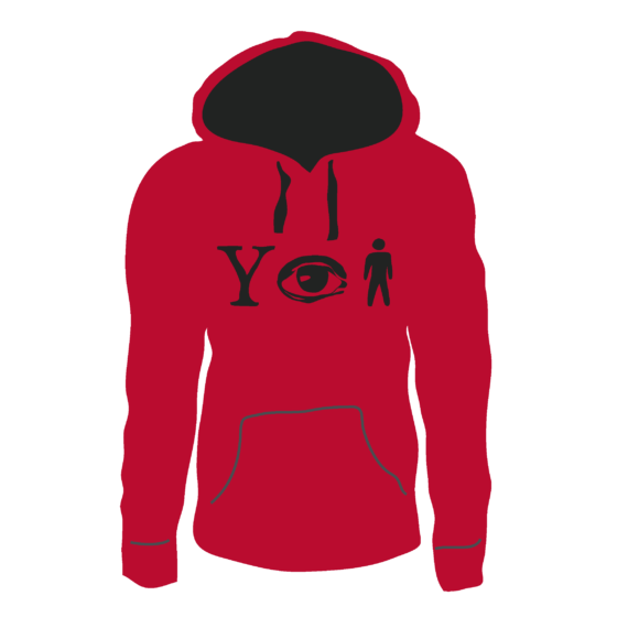 Why Aye Man Hoodie- Red with black