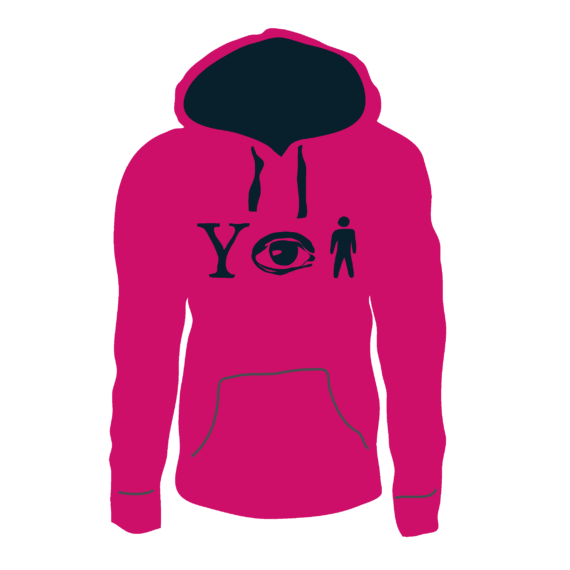 Why Aye Man Hoodie Hot pink with Navy