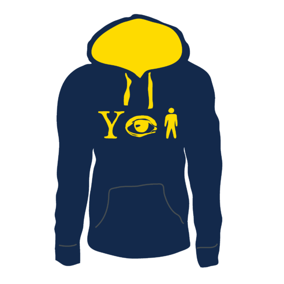 Why Aye Man Hoodie Navy with Yellow